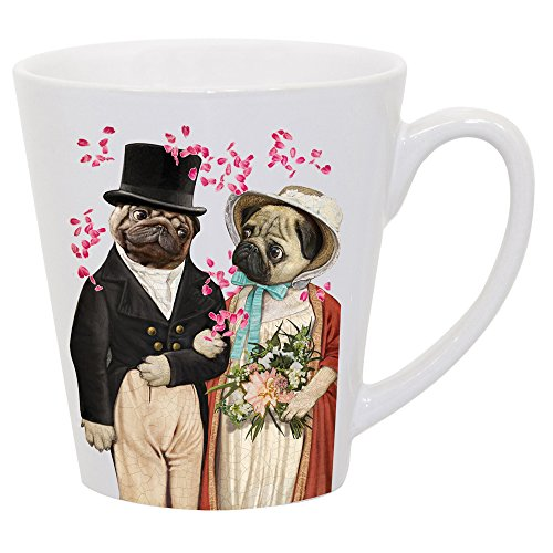Pugs and Prejudice Beautifully Illustrated Latte Mug