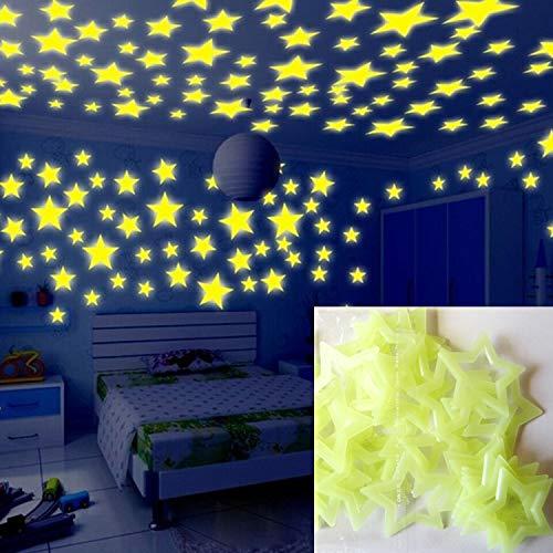 JINYANG Wandaufkleber 100PC Kinder Schlafzimmer Glow Wandaufkleber Sterne (Multicolor) (Farbe : Gelb)