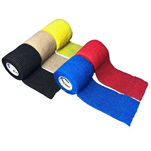 LisaCare Fixierbinde 5cm x 4,5m | 5er-Set unsortierte Farben | Kohäsive Bandage | Wundverband | Pflasterverband | elastisch, dehnbar, selbsthaftend, ohne Kleber (Elastische Binde Wickeln Kohäsive)
