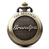 """Gorben Orologio da taschino colore bronzo antico, con scritta """"Grandpa"""", al quarzo, con catena, da uomo, idea regalo per nonno, scatola da regalo compresa"""