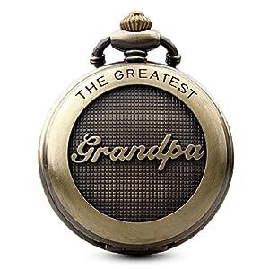 Gorben Antik Bronze Opa Quarz Taschenuhr mit Kette für Herren Großvater Geschenke + Box
