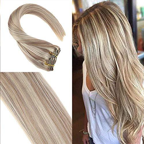 YoungSee 7 Tressen Double Weft Echthaar Extensions Clip Blond 120g Haarverlängerung Clips Echthaar (#18/613) Gesträhnt Blond für Dickes Haar 50 cm