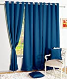 Story@Home Premium Blackout Solid 2-Piece Cotton Door Curtain Set - 7ft, Navy Blue