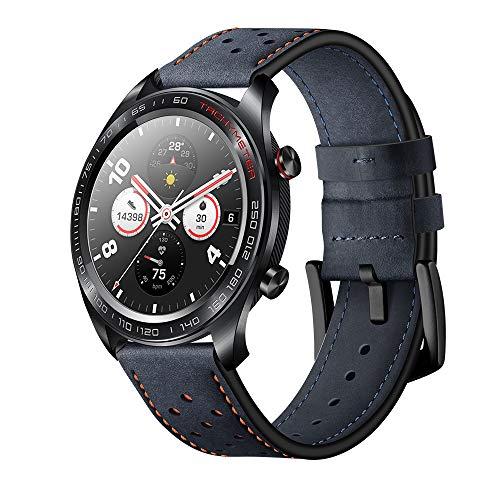 Aisport - Cinturino di ricambio in pelle da 22 mm, da uomo e donna, per Huawei Watch GT/Honor Watch Magic/Samsung Galaxy Watch 46...