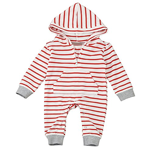 Honestyi BabyBekleidung Neugeborenes Baby Jungen Mädchen Striped Hooded Strampler Overall Ausstattungs Kleidung (90,Rot)