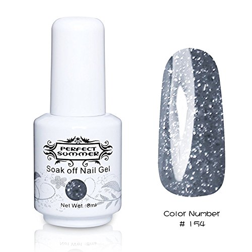 Perfect Summer 1pcs 8ml Vernis à Ongles Semi-Permanent UV LED Soak Off Gel Nail Polish -Gris Smoky#154