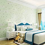 KYKDY Kinderzimmer Tapete Rosa Blau 3D Sterne Und Mond Für Jungen Mädchen Schlafzimmer Tapete Rolle Starry Themed Wall Paper Für Kinderzimmer, Hellgrün, 10 mt * 0,53 mt = 5,3 quadratmeter