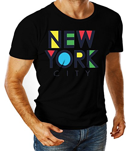 Billion Group   New York Pop Art   City Collection   Men's Ben Crew Neck Classic Tshirt Nero Small