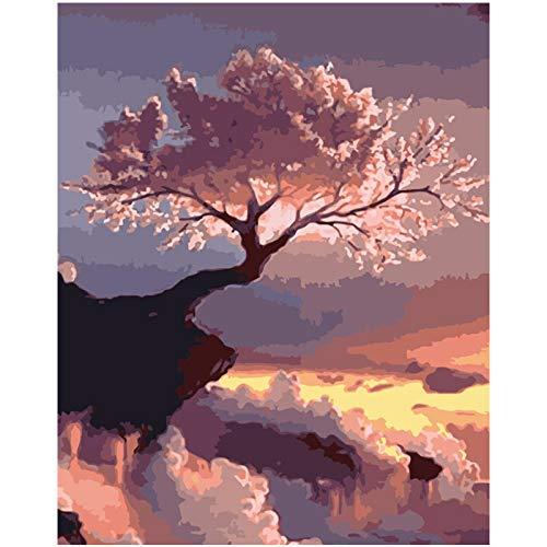 FULLLUCKY Malen Nach Zahlen DIY Himmel Ansicht Kirschblüten Landschaft Leinwand Hochzeit Dekoration Kunst Bild Geschenk - Ansicht 16x20 Foto