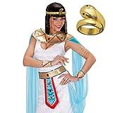 NET TOYS Goldener Schlangen Ring Cleopatra Goldring Ägypten Gold Schmuck Cobra Fingerschmuck Antike Göttin Fingerring Orient Kostüm Accessoire