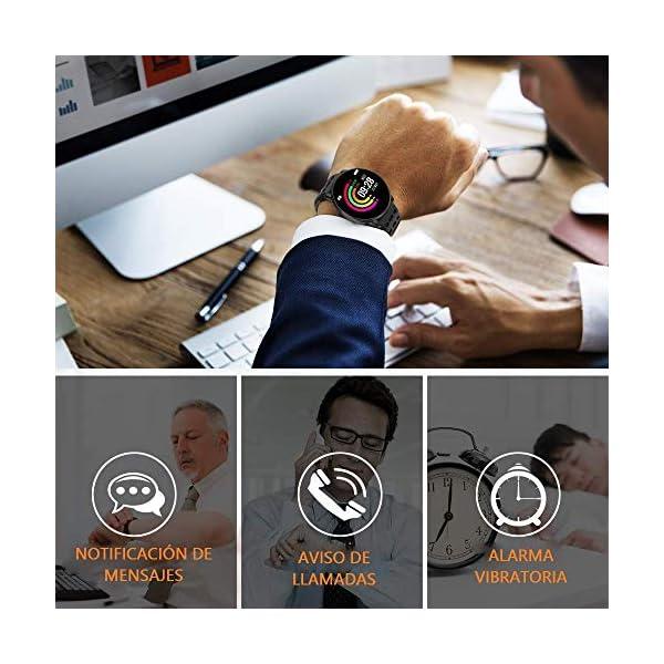 TDOR Smartwatch con Whatsapp Hombre Mujer Reloj Inteligente Android iOS Deportivo, Color Negro 4