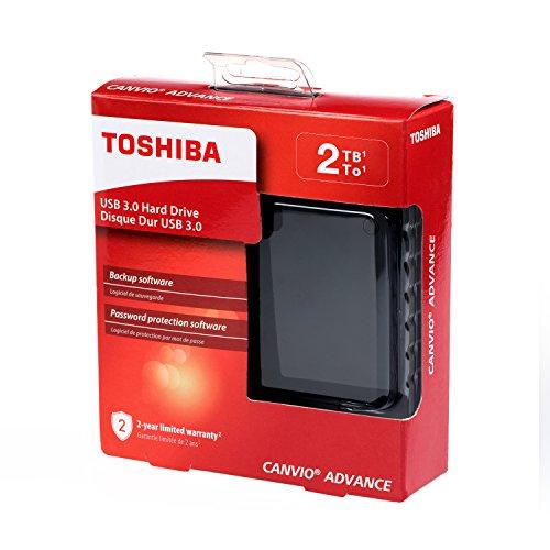 Toshiba HDTC920XK3AA Canvio Advance 2TB Portable External Hard Drive USB 3.0, Black