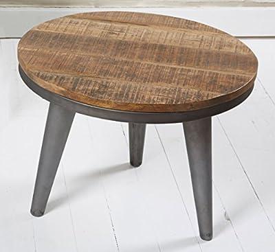 Couchtisch Wohnzimmertisch rund 51cm Holz Metall Retro Stubentisch Beistelltisch
