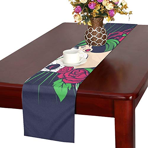 rful Sugar Skull Girl Table Runner, Kitchen Dining Table Runner 16 X 72 Inch for Dinner Parties, Events, Decor ()