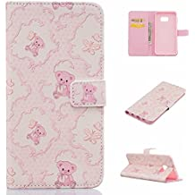 Samsung S6 Edge Plus Funda Alfort Carcasa Samsung Galaxy S6 Edge Plus Case de Piel Pintada Cover La tapa de la Cubierta del Cuero Moda Case con Soporte Plegable y Ranura de Tarjeta para Samsung Galaxy S6 Edge Plus ( Bear )
