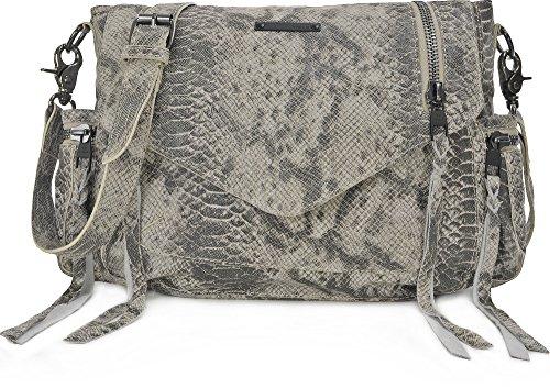 TYOULIP SISTERS, Damen, Handtaschen, Umhängetaschen, Cross-Bag, Corss-Body, Schlangenoptik, Hellgrau, 37 x 29 x 14 cm (B x H x T) (Body Handtasche Bag)