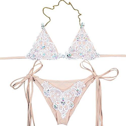 Shujin Damen Split Bikini Set Push-Up Bademode mit Spitzen und Strass Deko Triangel Strand Badeanzüge Zweiteilig Swimwear