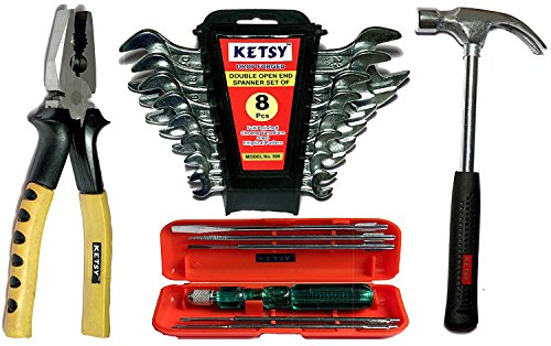 Ketsy K602 Hand Tool Kit 16 Pcs.(Screwdriver set of 6 Pcs.,Doe Spanner set of 8 pcs.,Combination plier 8 inch,Curved claw hammer steel shaft 1/2 lb)  available at amazon for Rs.645