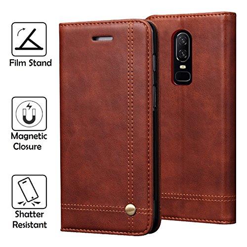 REAL-EAGLE OnePlus 6 hülle, Stand Hülle Etui with Karte Halterung Leder Wallet Klapphülle Flip Book Case PU Cover für OnePlus 6 2018 Smartphone. (1+6 Brown)