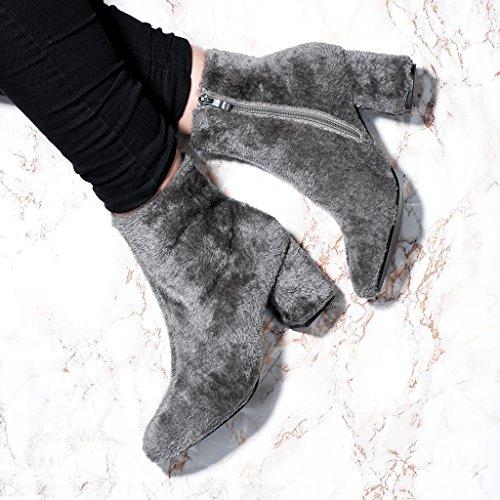 SPYLOVEBUY FOXIE Femmes Fourrure Synthétique à Talon Bloc Bottines Chaussures Gris