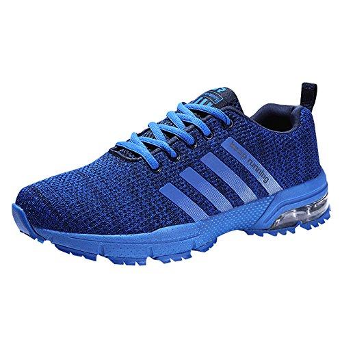 Damen Herren Laufschuhe Sportschuhe Turnschuhe Trainers Running Fitness Atmungsaktiv Sneakers(Blau,Größe: 46)