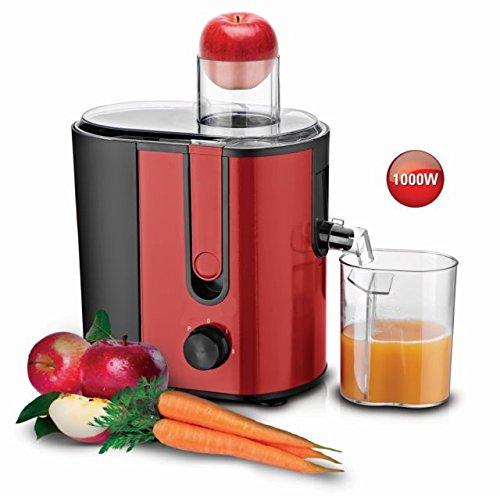Hochwertiger elektrischer Entsafter aus Edelstahl 1000 W Juicer Entmoster Saftpresse Fruchtpresse Obstpresse Citruspresse (Rot-Schwarz)