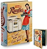 BARBACADO Livre boîte métal pour fiches de recette Boîte à recettes Rangement fiche de cuisine