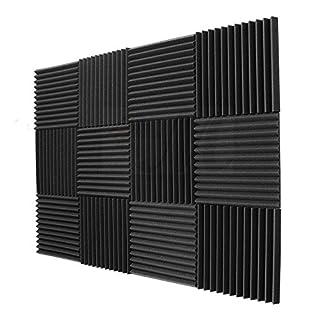 TOOGOO 12 Pack - Akustikplatten Schaum Engineering Schwamm Keile Schalldaemmung Panels 1 Zoll x 12 Zoll x 12 Zoll