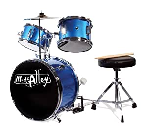 Music Alley 3 Piece Junior Drum Kit with Cymbal, Pedal, Stool and Sticks - Metallic Blue