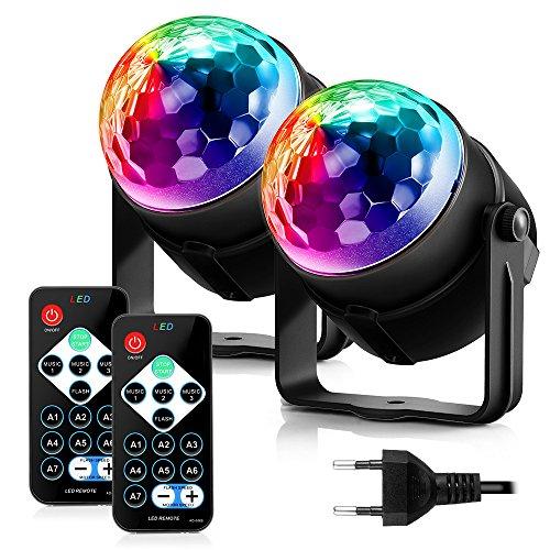 ACCEWIT Luci Discoteca LED Luci discoteca palla discoteca luce, 7 colori suono attivato luce della fase con telecomando per Festival Bar Club festa nuziale spettacolo Home-2 Pack