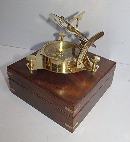 Nauticalmart Cadran solaire et boussole du capitaine en laiton avec boîte en bois