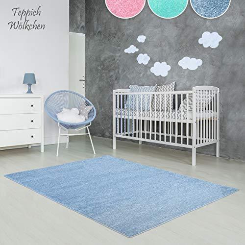 Kinder-Zimmer-Teppich im bunten Wolken Design oder Uni Farben | rund oder rechteckig | Ideal für Jungen, Mädchen oder im Baby-Zimmer | Ökotex Zertifiziert (Blau, 120 x 170 cm) -