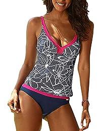 08eaa79632f4a Hibote Women's Plus Size Two Piece Swimsuit Tankini Sets V-Neck Printing  Swimwear S-