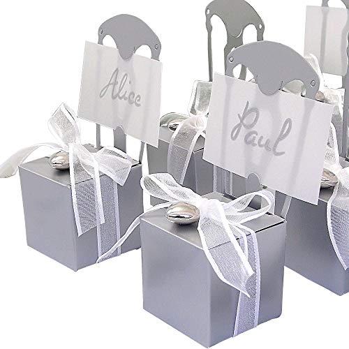 EinsSein 48 Stück Kartonagen Gastgeschenke Hochzeit Tischkartenhalter Stuhl Silber mit Namenskärtchen Hochzeitsmandeln Kartonage Geschenkboxen Geschenkbox Taufe Taufmandeln Kommunion Tischkarten