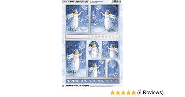 Christmas Angel /& Doves Silver Foiled /& Die Cut Toppers