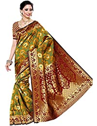 Mimosa Women's Art Silk Woven Saree With Blouse Piece - R9-MUST-MRN_Mustard Yellow And Green_Free Size