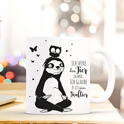 ilka parey wandtattoo-welt® Tasse Becher Kaffeetasse Kaffeebecher Faultiertasse Faultier und Eule mit Spruch Ich spüre das Tier in mir… ich glaube es ist ein Faultier ts401
