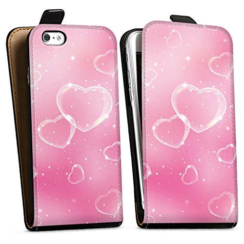 Apple iPhone X Silikon Hülle Case Schutzhülle Herz Liebe Pink Downflip Tasche schwarz