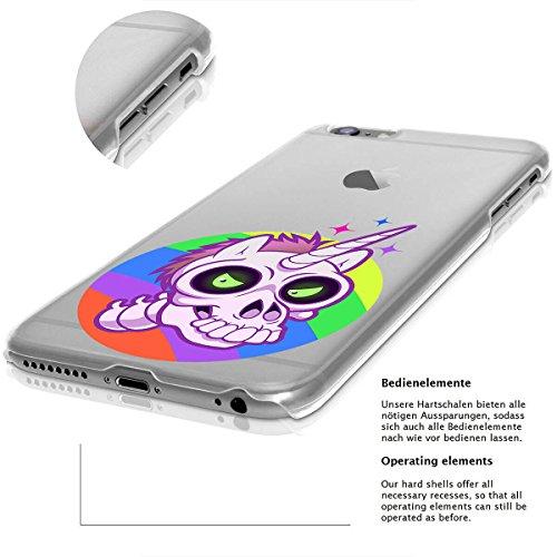 finoo | Iphone 6/6S Hard Case Handy-Hülle Halloween Motiv | dünne stoßfeste Schutz-Cover Tasche mit lizensiertem Muster | Premium Case für Dein Smartphone| Kürbis mit Hut CloseUp Einhorn Schädel