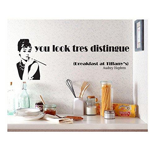 La mejor calidad morphsuit adhesivo pegatinas de vinilo para paredes twistfix/murales/etiquetas/tatuajes de color negro de Audrey Hepburn en Desayuno con Diamantes de películas y citarlo mira Tres stands diseños por eliminar archivos del registro