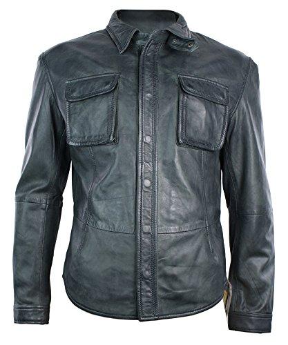 Herren Shirt Style Retro Leder Jacke in Grau Schwarz