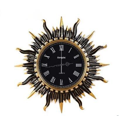 Européenne rétro horloge murale salon créatif décoratif circulaire salon de soleil mute horloge murale Art montres accessoires pour la maison , 3