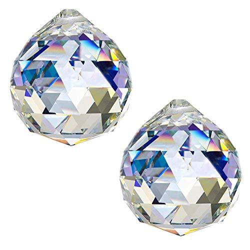 H&D 50mm Kristall Kronleuchterkugel Prismen Hänge Sonnenfänger Anhänger Teile, 2 Stück - Kristall Hängen Anhänger