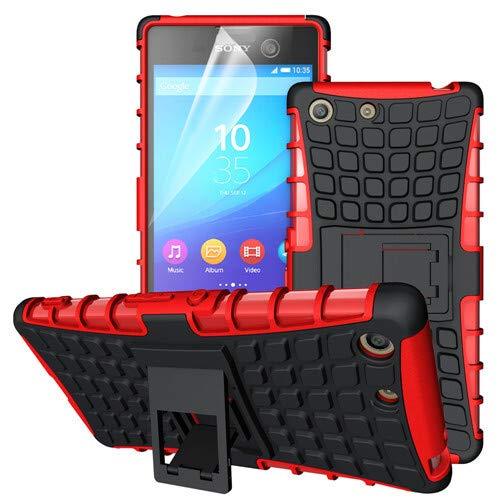 betterfon | Outdoor Handy Tasche Hybrid Case Schutz Hülle Panzer TPU Silikon Hard Cover Bumper für Sony Xperia M5 Rot