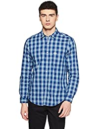 Indigo Nation Men's Checkered Slim Fit Cotton Casual Shirt
