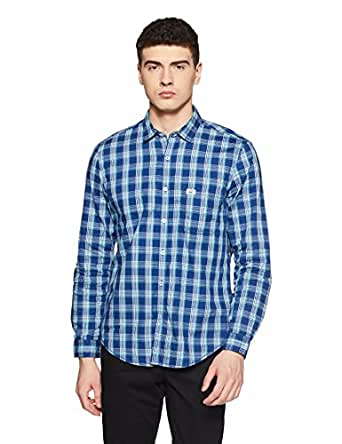Indigo Nation Men's Checkered Slim Fit Cotton Casual Shirt (ISF634_Blue Check_42)
