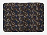 Bamboo Bath Mat, Tropical Pattern with Jungle Palm Tree Leaves Exotic Nature Growth, Plush Bathroom Decor Mat with Non Slip Backing, 23.6 W X 15.7 W Inches, Dark Blue Brown Seafoam