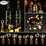 8 Pack Guirnalda Luces Led de Vino Botella, Cadenas Luces para Botella de Bricolaje, Fiesta, Navidad, Barbacoa, Boda,Cumpleaños,Regalos para Amantes del vino, Interior y Exterior (Blanco cálido)