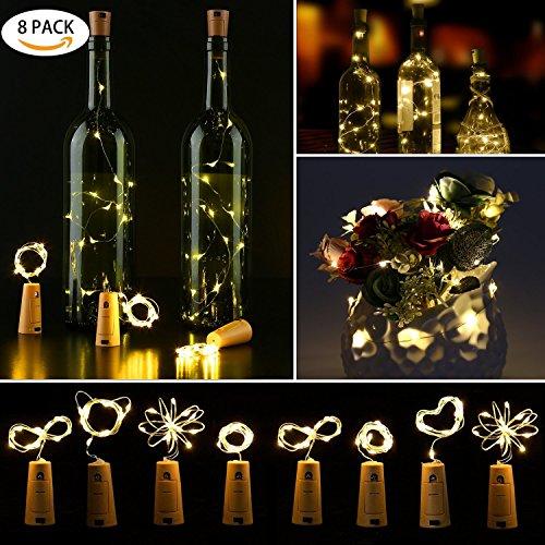 8pcs Lampen Weinflaschen-Flasche Girlanden LED Stöpsel, 100cm 10LEDs warmweiß, Kupferdraht, Licht Deko für DIY Flasche Wein/Bar/Guinguette/Zimmer/Hochzeit/Weihnachten/Party