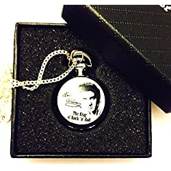 Elvis Presley King of Rock N' Roll Pocket Watch Necklace - Silver Plated Chain - GIFT BOXED WITH FREE SPARE BATTERY